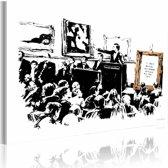 Schilderij - Banksy - Morons, Zwart-Wit