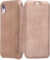 iPhone XR Bookcase hoesje - Graffi - Effen Rose goud - Leer