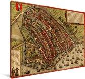 Historische stadskaart van het beroemde Amsterdam Canvas - Plattegrond 30x20 cm - klein - Foto print op Canvas schilderij (Wanddecoratie woonkamer / slaapkamer)
