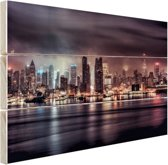 Duister New York City Hout 80x60 cm - Foto print op Hout (Wanddecoratie)