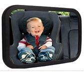 Universele Baby Autospiegel – Baby Spiegel voor in de Auto – Spiegel aan de Hoofdsteun van de Auto – Baby On Board Mirror - Autospiegel kind - Maxi cosi spiegel auto - Zwart - Verstelbare autospiegel voor baby