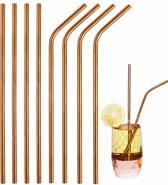Eco friendly Rosé goud/ Koper kleurig RVS Foodgrade metalen drinkrietjes - set van 8 herbruikbare stalen rietjes - 4 recht en 4 gebogen en 2 handige schoonmaakborsteltjes in een wasbaar draagtasje