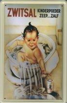 Zwitsal reclame Kinderpoeder Zeep Zalf reclamebord 30x40 cm