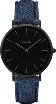 CLUSE CL18507 La Bohème - Horloge - Dames - Denim/Zwart - Ø 38 mm