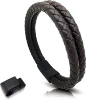 Leren armband met magnetische sluiting Galeara design ARA bruin 21,5cm - 22,5cm