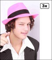3x Al capone hoed wolvilt roze mt 61