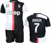 Juventus Replica Cristiano Ronaldo CR7 Thuis Tenue Voetbalshirt + Broek Set Seizoen 2019/2020 Zwart / Wit, Maat: 128