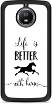Moto G5S Hardcase Hoesje Life is Better with Horses