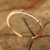 Fate Jewellery Ring FJ136 - 18mm - Roséverguld met zirkonia kristallen