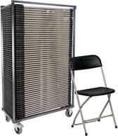 50x klapstoel Titan - in transportkar - grijs/zwart