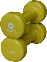 RS Sports Dumbells - 2 x 1,5 kg - Vinyl - Geel