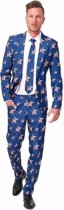 Heren pak met  Amerikaanse vlag print - grappige business suit XL (56-58)