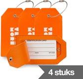 TravelMore Leren Kofferlabel - Luxe Bagage Label Leer voor Koffers en Tassen - Reislabel - Adreslabels - Luggage Tag - 4 Stuks - Oranje