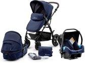 Kinderkraft MOOV 3in1 baby blauw koets, buggy, draagstoel en luiertas
