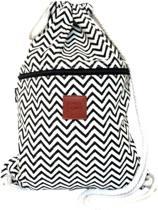 Rugtas ZigZag   T-Bags   100% Katoen   14 Liter   Zwart & Wit   Comfortabel