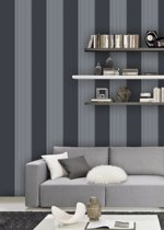 Dutch Wallcoverings Vliesbehang streep - Zwart/wit