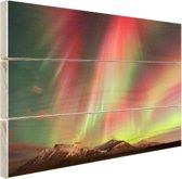 Noorderlicht explosie Hout 120x80 cm - Foto print op Hout (Wanddecoratie)