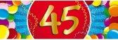 45 jaar leeftijd sticker 19 x 6 cm - 45 jaar verjaardag/jubileum versiering
