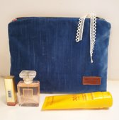 Toetie & Zo Handgemaakte Toilettas Fluweel Blauw, koningsblauw, beautycase, makeuptas