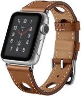 123Watches.nl Leren bandje - Apple Watch Series 1/2/3/4 (38&40mm) - Bruin
