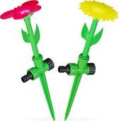 relaxdays tuinsproeier bloem - set van 2 stuks - watersproeier kinderen - sprinkler