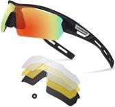 841da5cefab93a Sport Zonnebril met verwisselbare lenzen inclusief gepolariseerde lens met  zwart frame - fiets MTB fietsbril sportbril
