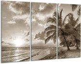 Glas schilderij Strand, Zee   Sepia   120x80cm 3Luik   Foto print op Glas    F006545