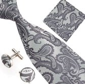 Elegante Stropdas, manchetknoppen en Pochet Grijs