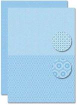 Decoupage Vel - Tweezijdig - Lichtblauw - Baby Jongen-Bloemen