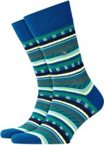 Burlington Construction Stripes Sokken Heren 21883 - 40-46 - Blauw