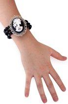 Armband zwart met kralen en camee