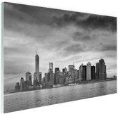 Manhattan New York in zwart-wit Glas 90x60 cm - Foto print op Glas (Plexiglas wanddecoratie)