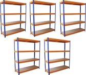 Monster Racking 5 x S-Rax Warehouse Storage Shelving, Blue/Orange, 150cm W, 50cm D