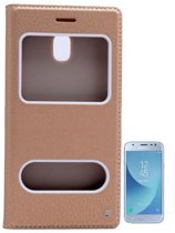 Teleplus Samsung J3 Pro Galaxy Double Window Case Gold + Glass Screen Protector hoesje