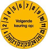 Keuringssticker 'Volgende keuring op: ...' 18/kaart 2017/2022