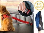 1+1 Gratis Hondengordel met Hondenborstel - Vacht Verzorging Massage Borstel - Honden Katten Huisdieren - Verzorgingsborstel Handschoen - Gordel Riem Autogordel Seat Belt - Voordeelpack