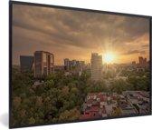 Foto in lijst - Zonnestralen schijnen over Mexico-stad fotolijst zwart 60x40 cm - Poster in lijst (Wanddecoratie woonkamer / slaapkamer)