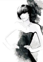 Canvas Schilderij * Fashion Girl ZwartWit * - Kunst aan je Muur - Zwart-Wit - 50 x 70 cm
