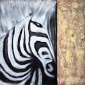 Schilderij zebra modern 80x80 Artello - Handgeschilderd - Woonkamer schilderij - Slaapkamer schilderij - Canvas - Modern - Zwart Wit - Dieren