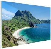 Uitzicht over Padar eiland Indonesie Glas 30x20 cm - klein - Foto print op Glas (Plexiglas wanddecoratie)
