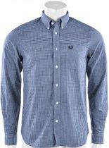 groothandelaar fabrieksprijs goed uit x Fred Perry Classic Gingham Long Sleeve Shirt - Sportshirt - Heren - Maat S  - Blauw;Rood