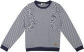 DJ Dutchjeans Meisjes Sweater - White + navy stripe - Maat 152