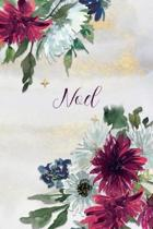 Noel: Personalized Journal Gift Idea for Women (Burgundy and White Mums)