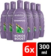 Andrélon Kokos Boost Shampoo - 6 x 300 ml - Voordeelverpakking
