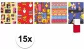 15 rollen Sinterklaas kadopapier - 200 x 70 cm - cadeaupapier / inpakpapier