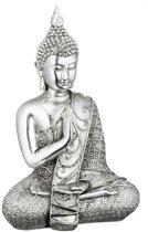 Boeddha beeldje zilver - mediterende Boeddha 17,5 cm