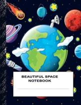 Beautiful Space Notebook: Boys' and Girls Fun Handwriting and Printing Practice Notebook for Grades K-2-3