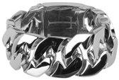 Silventi 980100704 Stalen armband - gourmet schakel - 21 cm - zilverkleurig