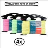 4x Gekleurd touw rood, groen, blauw en roze 4 mm