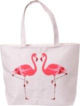 Flamingo ruime katoenen tas met rits en voering